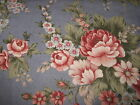 148cm wide Vintage Cotton Print Fabric - 50cm /1m lengths - mottled blue floral