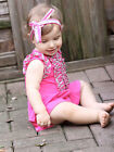 Baby Girl Raspberry Pink Romper Skort Summer Cotton By Kidcuteture $50 NWT