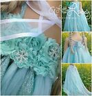 *NEW* Girls Frozen Queen Elsa Party Birthday Tutu Dress + Long Cape