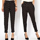 Vintage Woman Lady High Waist Polka Dot Casual Harem Trousers Pants Black S M L