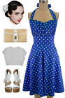 PLUS SIZE 50s Style ROYAL BLUE w/White POLKA DOTS Pinup Betty HALTERTOP SunDress