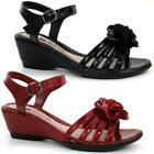 Womens Ladies Leather Wedge Heel Ankle Strap Summer Strappy Sandals Shoes Size