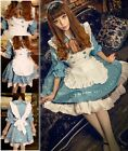 Vintage Gothic Lolita Blue Satin Japanese Cosplay Fancy Dress Costume @VC1005