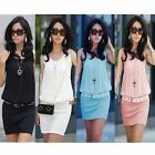 2014 Summer Women Crew Neck Casual Chiffon Sundress Mini Dress Tunic Sleeveless