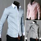 Hot Luxury Men's Slim Fit Stand collar Casual Shirts Formal Business Dress Shirt
