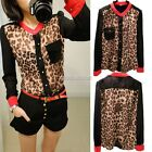 Women Fashion Sexy Korean Leopard Tin Chiffon Long Sleeve Shirt Top Blouse N98B