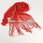 Luxury Floral Party Shawl Mesh Sequin Wrap Fringe Scarf