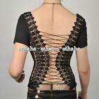 Sexy Lace Up T-Shirt Embroidered Corset Backless Top