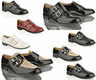 WOMENS LADIES FLAT LOAFERS MONK STRAP DOUBLE BUCKLE WORK OFFICE SMART SHOES SIZE