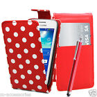 POLKA DOTS RED FLIP PU LEATHER CASE COVER POUCH FOR NEW MOBILE PHONES