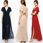 Sexy Long V-neck Chiffon Slit Evening Gown Formal Prom Pageant Party Dress Top