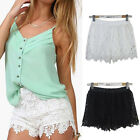 Chic European Women Shorts Elastic High Waist Lace Shorts Fashion Short Pants