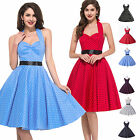 50's Polka Dot Halter Cotton Dress Rockabilly Swing Vintage Pinup Retro Clubwear