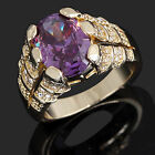 Size 8,9,10,11,12 Jewelry Man's Purple Amethyst 10KT Y/W Gold Filled Ring Gift