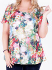 Marina Kaneva Women's Plus Size Short Sleeve Tunic in Multicolour Floral Print