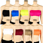 Womens Strapless Padded Bra Bandeau Tube Top Removable Pads Seamless Crop Colors