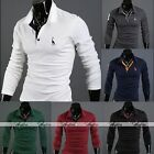 Men's Handsome Stylish Long Sleeve Slim Fit Polo Shirts Tops Casual Tee T-Shirt