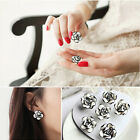 Stylish Cute Women/Girls Black & White Rose Flower Stud Earrings Beautiful