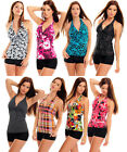 Swimsuit Belly Push-Up Tankini With Hotpants Selectable Colour Size UK 10-20