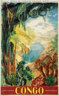 Vintage Congo travel print poster, large 4 sizes available