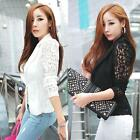 Women Elegant Slim Suit Blazer Coat Lace Crochet Jacket Cardigan Blouse Outwear