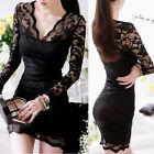 Black Ladies Deep V Neck See-through Lace Cocktail Party Mini Dress Casual 6384