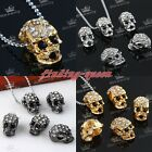 5x Crystal Rhinestone 3D Skull Connector Charms Beads For European Snake Chain