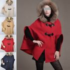 Princess Style Poncho Fur Hooded Winter Coat Jacket Ladies Cape Outerwear New