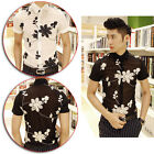 Unique Men Boys Sexy Chiffon Floral Embroidery Short Sleeve Casual Dress Shirts
