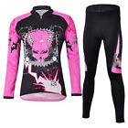 Popular NEWCHEJI Women Pattern Rose Color Bicycle Long Sleeve Cycling Tops+Pants