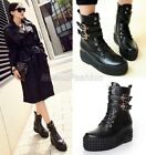 Womens Real Leather Lace Up Zip Platform Concealed Heel Ankle Boots Shoes 9032