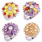 Citrine & Amethyst Peridot Morganite Gemstone Silver Ring Size 7 8 9 10 11 12 13