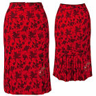 Voodoo Vixen Red Rose Pleats Wiggle Skirt Rockabilly Pin Up Retro Pencil
