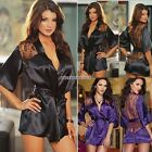 Women Stain Lace Intimate Sleepwear Babydoll Dress Nightwear Sexy Lingerie Set