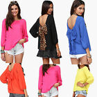 Women Evening Loose Cut Out Back Top T-Shirts Vests Blouse with Leopard Bow Tie