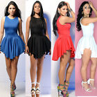 Celeb Style Sexy Women Lady Pleated Irregular Hem Club Party Cocktail Mini Dress