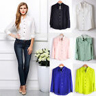 Fashion Women Solid Color Long Sleeve Lapel Chiffon Blouse Formal Tops T Shirt