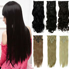 8Pcs Long Curly Wavy Straight Full head clip in on hair extensions 18 clips ss01