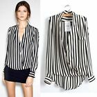 Sexy Womens Stylish Black&White Stripe Long Sleeve Chiffon T-shirt Tops Blouse