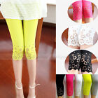 Women Casual Cotton Leggings Hollow Out Floral Stretch Tight 3/4 Length Pants