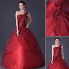 Noble Long Red Wedding Dress Party Gown Bridesmaid Prom Dresses 6 8 10 12 14 16