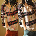 Women Girl Lady's Retro soft loose knit cardigan sweater coat Plaid shirt XD0012