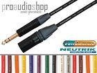 "Van damme Neutrik Black & Gold XLR Male-1/4"" 6.35mm Jack Lead NC3MXX-B NP3X-B"