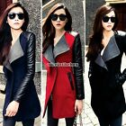 Winter Womens WOOL PU Leather Long Coat Jacket Trench Parka Outwear Windbreaker