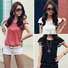 3 Color New Lady Flouncing Short Sleeve Tops Casual Cotton Loose T-Shirt Sz 8-16