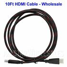 10Ft HDMI Braided Cable Lot 1080P HDTV DVD LCD LED PS3 XBOX PC HD TV 3D Blue-Ray