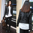 Crazy Women Slim Black Biker Motorcycle Synthetic Leather Zipper Jacket Coat
