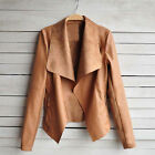 New Women's Fashion Style PU Leather Jacket Turn-down Collar Casual Outwear