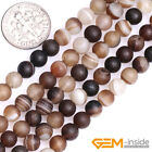 "Natural Brown Stripe Agate Matte Frost Round Beads For Jewelry Making 15"" 4-10mm"