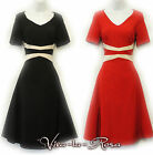 New Rosa Rosa Vtg 1930's 40's WW2 Black Red Illusion Swing Day Tea Dance Dress